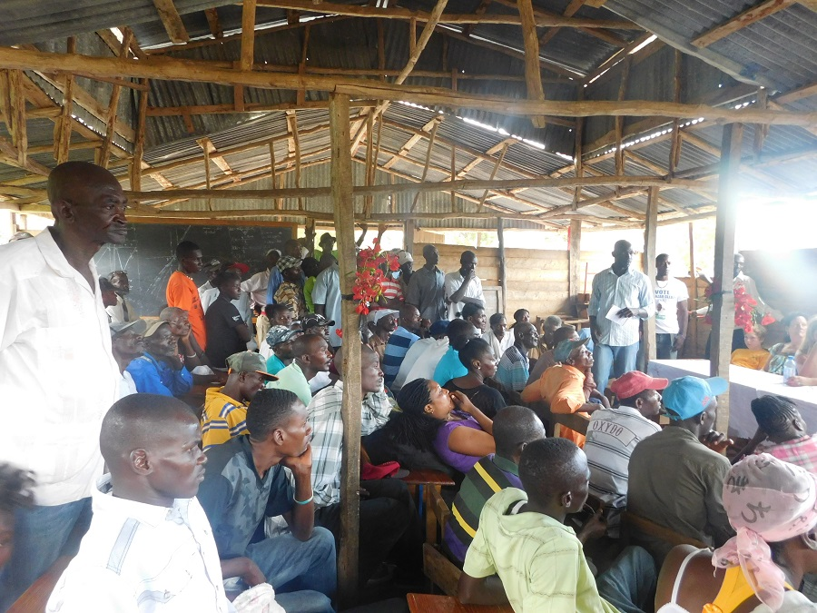 A community gathering while we explore the coffee business in Haiti